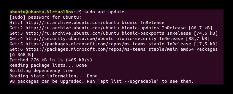 Команда apt update в Терминале Ubuntu