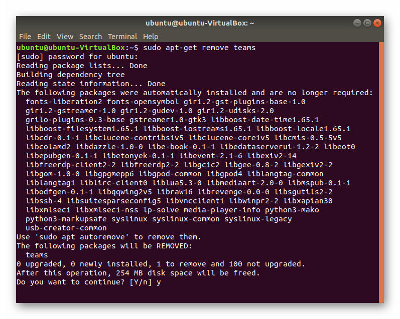 Удаление Microsoft Teams через Терминал в Ubuntu